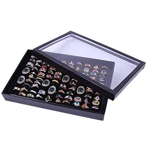 Yodio Anillo de joyería Caja de joyería Pendiente Bandeja de joyería 100 Anillo Bandeja de joyería Bandeja de almacenamiento (blanco)