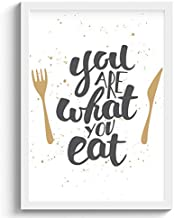 SC CREATIVES Eating Quotes Modern Lettering Framed Art Prints Painting with Plexi Glass 12 x 9 Inches Wall Art Gift Poster...