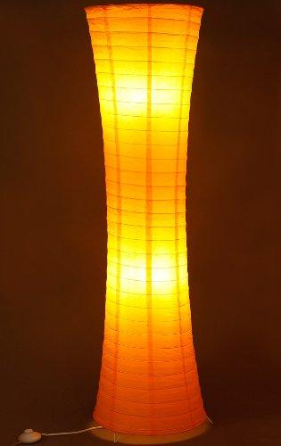 Trango 1230L Design LED Reispapier Stehlampe *AMSTERDAM* Reispapierlampe *HANDMADE* Stehleuchte in Rund mit orangefarbenem Lampenschirm inkl. 2x E14 LED Leuchtmittel, Höhe: 125cm, Wohnraumlampe