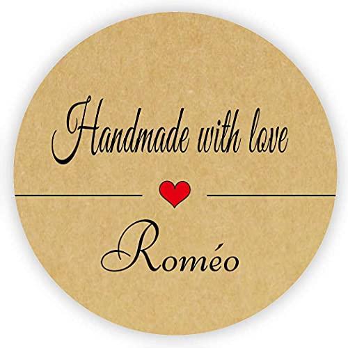 MameArt 50 Piezas Pegatinas Personalizadas Handmade with Love Nombre, Hecho a Mano...