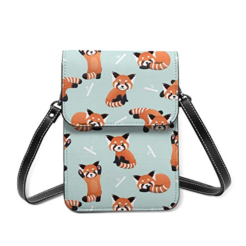 IUBBKI Universal Lightweight Leather Phone Purse, Red Panda Small Crossbody Bag Cell Phone Pouch Shoulder Bag