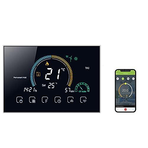 SOUSLOW Termostato WiFi per Caldaia a Gas Controllo APP Vocale LCD Visualizzazione Dell'umidità Programmabile Compatibile con Google Home Alexa