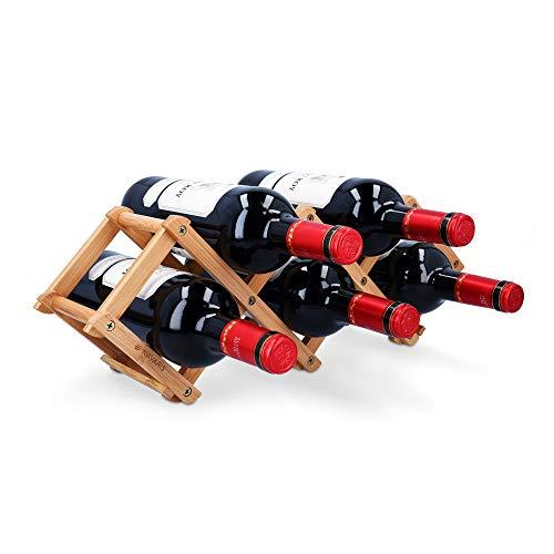 Navaris Weinregal Flaschenregal Flaschenständer aus Bambus - 45x12x15,2cm Regal für Flaschen aus Holz - Flaschenhalter Weinflaschenhalter - faltbar