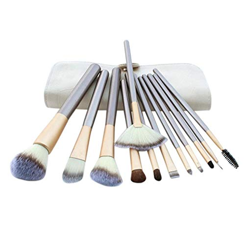 MEISINI Makeup Brushes Cosmetics Foundation Powder Eyeliner Brush Make Up Brush Tools With White Bag, 12 Pcs