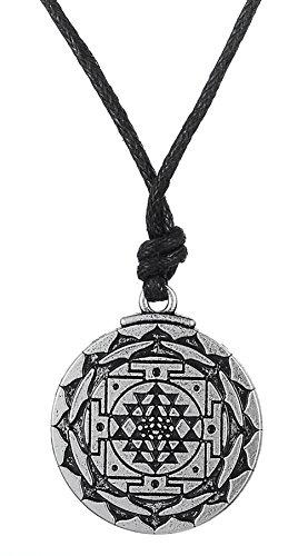Klassischer Sri Yantra-Anhänger, Halskette, Amulett und Talisman, Hindu-Göttin, steht für großen Reichtum, Yoga-Schmuck für Damen und Herren
