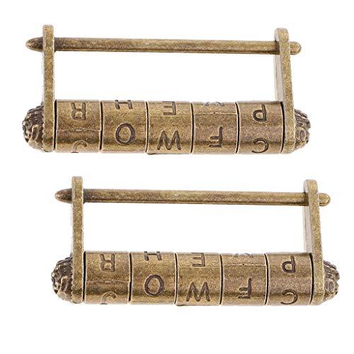 freneci 2Pcs Retro English Alphabet Password Padlock Lock for Suitcase Travel Bronze