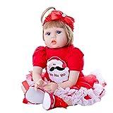 AFYH Reborn Baby, Realistische Babypuppe Reborn Real Life Babypuppenmädchen 22'Babies Art Doll mit Schnullerflasche Ideal ab 3 Jahren Geburtstagsgeschenk Toy Pink Vest