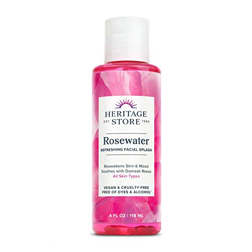 Heritage Store Rosewater | Refreshing Facial Splash for Glowing Skin | No Dyes or Alcohol | Vegan & Cruelty Free (4oz)