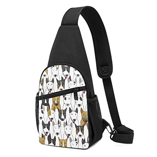 Sling Bag for Women Anti-Theft Shoulder Backpack Funny Dogs Bull Terrier Chest Bags Adjustable Cross Body Lightweight Daypack Bicycle & Sport