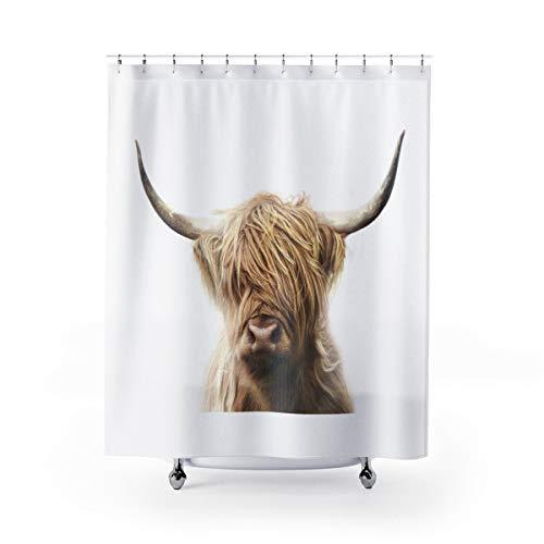 Miiyu6Bird Highland Kuh Duschvorhang Braun & Schwarz Badeinlage rustikale Ranch Badezimmer Decor Country Bad Accessoires Kuh Liebhaber Geschenke