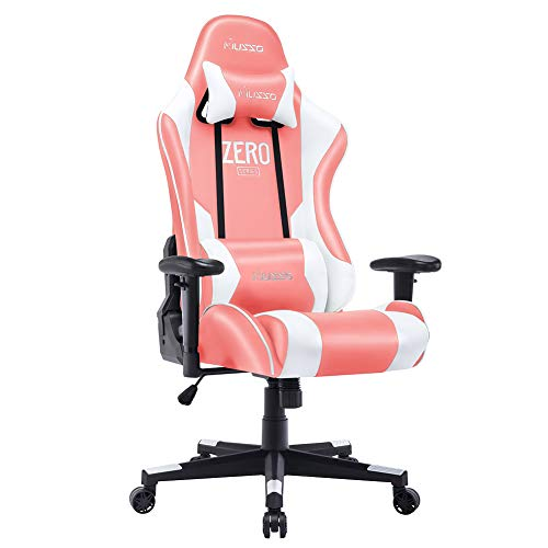 Musso Ergonomic (Pink) Gaming Chair Adjustable Esports Gamer Chair, Adults Racing Video Game Chair, Large Size PU Leather High-Back Executive Office Chair