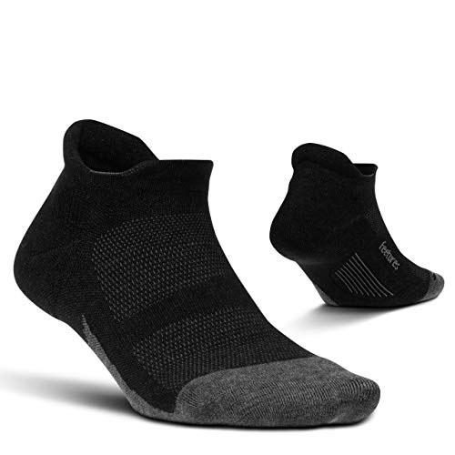Feetures - Merino 10 Cushion - No Show Tab - Athletic Running Socks for Men and Women - Charcoal - X- Large