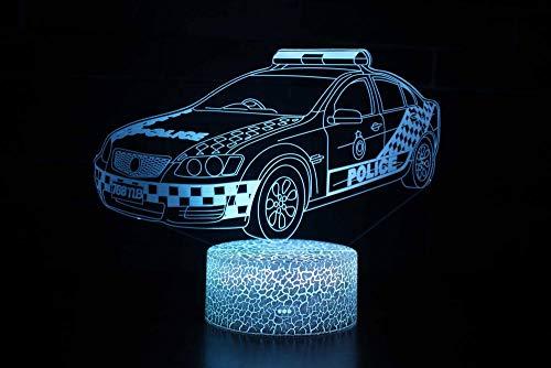 3D Lampe LED Licht 3D Illusion Lampe Nachtlicht Dekoratives 7 Farben Schalter von Smart Touch Button&Remote&USB Kreative Dekorationen Polizeiauto für Kinder Baby Boy Geburtstag