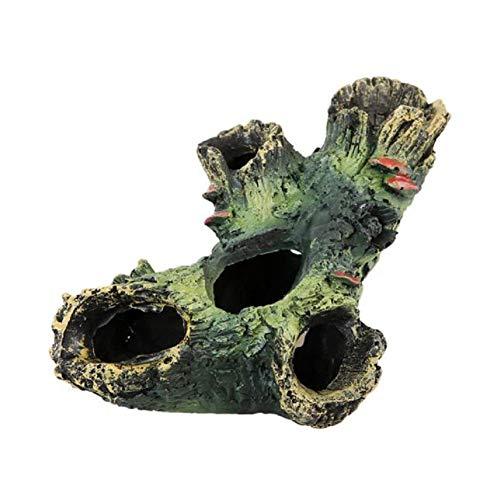 Ruiting Aquarium Deko, Simuliertes Totes Holz mit Löchern, 12 * 17 * 11cm 1 Stück