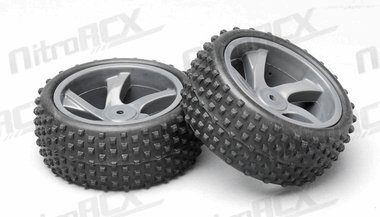 Tire and Rim for Buggy and Short Course Truck (23626B+28658) 2P Tire and Rim for Buggy and Short Course Truck (23626B+28658) 2P Item# 16P-28659 FOR Iron Track Electric 1:18 Scale Spare Parts((CAR NUMBER Item# 16C668 , 16C772) (Brushed w/ Nimh Battery Version)