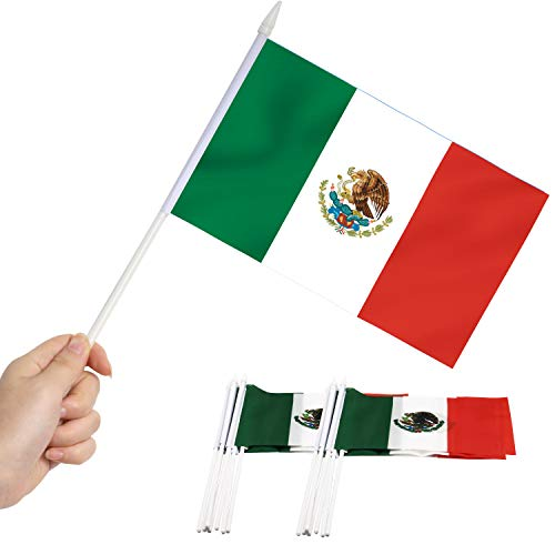 Anley Mexikanische 5x8 Zoll Handheld Mini Flagge mit 12