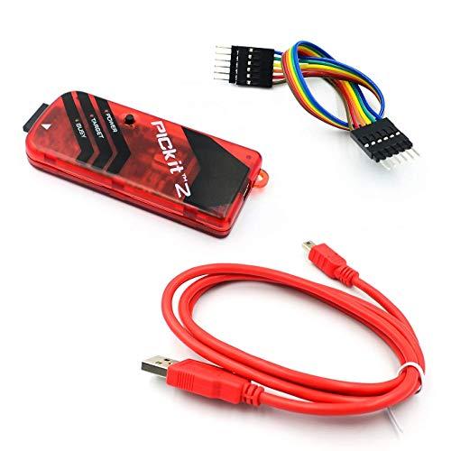 ICQUANZX PICKIT2 PIC Kit2 Simulator PICKit 2 Programmierer Emluator Rot Farbe mit USB Kabel Dupond Wire