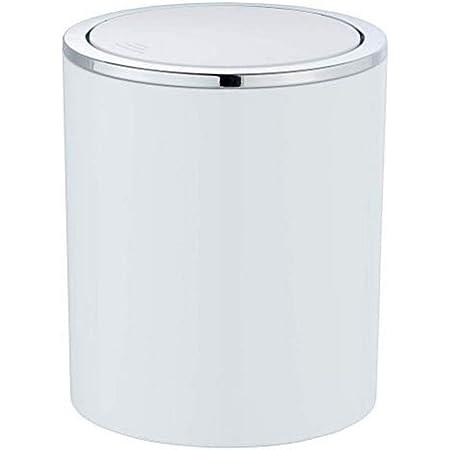 WENKO Mini Poubelle Salle de Bain 2L, Poubelle à couvercle basculant, Inca, Blanc, Ø 14 x 16,8 cm
