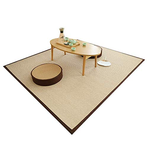 AYHa Japanese Square Natural Fiber Bamboo Floor Mat Summer Printing Large Cool Pad for Living Room Bedroom,A,120 * 150cm
