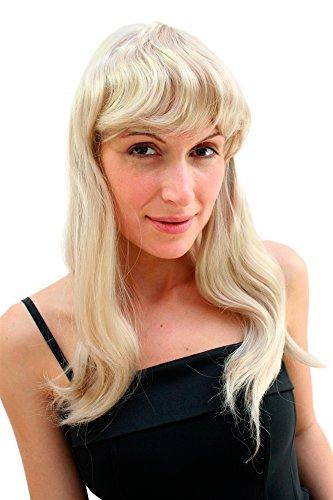 WIG ME UP VK Event Fashion - Longue Perruque, Blonde Et Ondulée, Avec Une Superbe Frange. Idéal Pour Carnaval.