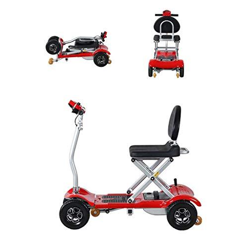 BXZ Rollstuhl Kompakt Behinderter Elektrorollstuhl Klapp Dreirad Elektroauto Roller Old Man Elektro Dreirad Faltbarer Mobilitätsroller für Erwachsene Tragbarer Assistierter Rollstuhl für den Außen- u