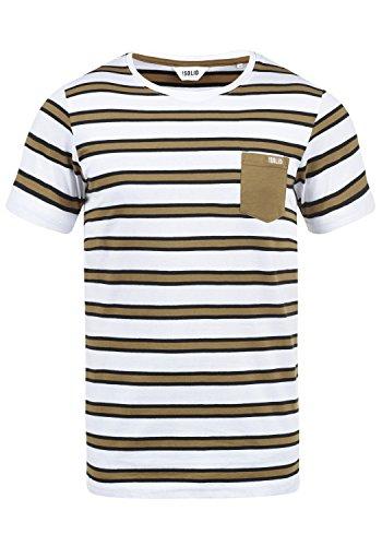 !Solid Salu Herren T-Shirt Kurzarm Shirt Mit Streifen Und Rundhalsausschnitt 100% Baumwolle, Größe:L, Farbe:Ermine (5944)
