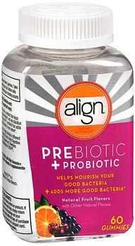 Align Prebiotic + Probiotic Gummies Natural Fruit Flavors - 60 CT, Pack of 2