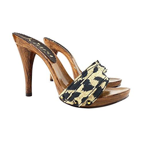 Kiara Shoes KM7101-LEOPARDO -Zoccolo con Tacco 11 CM (40)