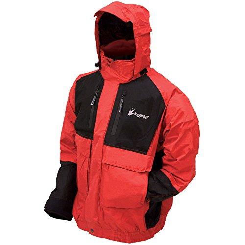 FROGG TOGGS Men's Toadz Firebelly Waterproof Rain Jacket, Red/Black, Medium