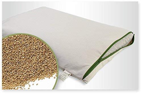 Bio Hirseschalen Schlafkissen - Zweitkissen G.O.T.S, 40x60, weich und stützend, Füllung in einem extra Bio Baumwoll Innenetz