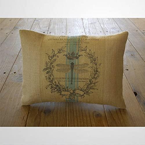 BYRON HOYLE Funda de almohada de libélula francesa, funda de cojín Shabby Chic con cremallera, decoración del hogar para sofá, sala de estar, dormitorio, 30,5 x 50,8 cm ka309