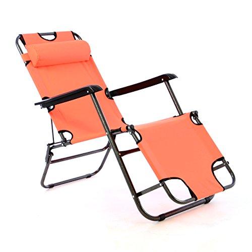 Liegestuhl Campingstuhl mit Liegefunktion Sonnenliege mit Kopfpolster Strandliege klappbar für Camping Freizeit Garten Strand Navy-blau orange grün Tragfähigkeit bis 100kg Farbe wählbar (Orange)