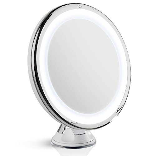 Fancii Daylight LED 10X Magnifying Makeup Mirror - 8.0' Large Lighted Travel Mirror - Dimmable Light, Cordless, Operated, Locking Suction, 360 Rotation, Portable & Illuminated