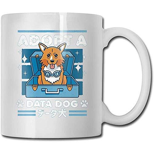 Nieuwigheid Witte Thee Mok, Grappige Keramische Koffie Mokken, Water Sap Beker, Goedkeuren Een Data Hond Porselein Beker, voor Verjaardag, 11 Oz, Uniek Verjaardagscadeau