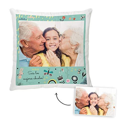 Fotoprix Cojín Personalizado con Foto para Abuelo o Abuela | Regalo Original día del Abuelo | Varios diseños Disponibles (Abuelos, 35 x 35 cms)