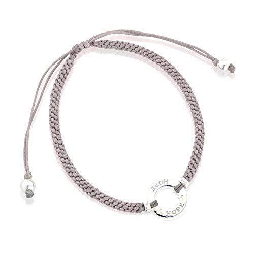 Armband sterling zilver 925 ring met Engelse opschrift 'Hope' verstelbare zijden band grijs
