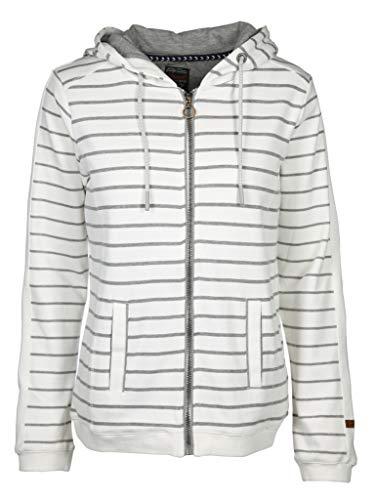 soquesto Damen Sweatjacke im Streifendesign Größe 40 EU Weiß (weiß)