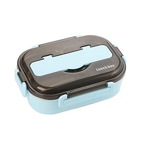 Nueva Caja de Almuerzo aislada Cocina Comida Contenedor Compartimento Fugas Impermeables Acero Inoxidable Almuerzo Contenedor con cucharas Palillos (Color : Sky Blue, Size : 3)