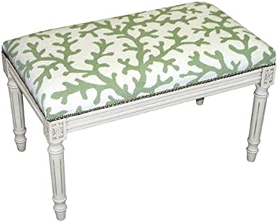 73f95b8cf9645 123 Creations C763WBC Coral in Green Needlepoint Bench in White Wash - 100  Percent Wool