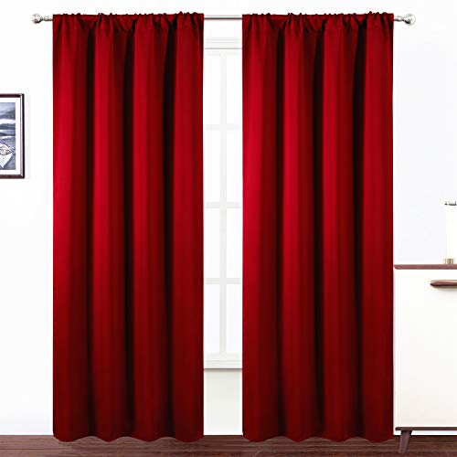 LEMOMO Red Blackout Curtains/42 x 84 Inch/Set of 2 Panels Room Darkening Curtains for Bedroom