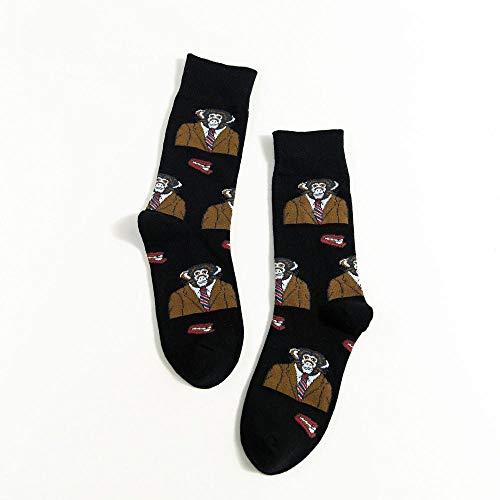 POYANG 3 Pares de Calcetines de Mujer de Tubo de Longitud Media, Lindos Calcetines de Animales para Hombres y Mujeres, Calcetines de algodón, Calcetines de Pareja-2