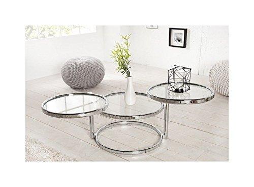 Lnxp Designer Couchtisch Rund Chrom in Silber Tisch Beistelltisch REPRO Art Deko Rund Praxis Wohnung Büro Breite: Min.55cm / Max.155cm