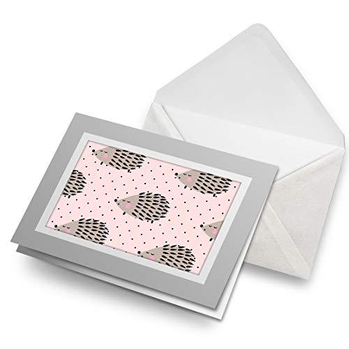 Impresionante tarjetas de felicitación gris (inserto) – lindo erizo rosa de jardín animales en blanco tarjeta de felicitación de cumpleaños para niños fiesta de niños y niñas # 8450