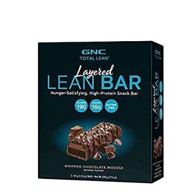 GNC Total Lean Layered Lean Bar - Whipped Chocolate Mousse, 5 Bars, Hunger-Satisfying and High-Protein Snack Bar