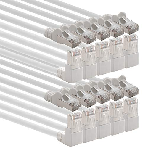 1Attack. de Cat.6Cable de Red ángulo 90Grados CAT6Patch Cable (SFTP PiMF) 1000Mbit/s Conector RJ 45Compatible con CAT5CAT5E CAT6CAT6a CAT7cat7a cat8 10 Stück weiß 2 m