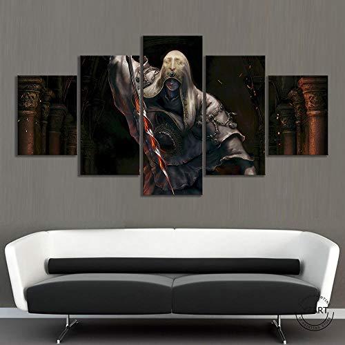 120Tdfc Cuadros Decoracion Salon Modernos 5 Piezas Los Videojuegos del Anillo de Fuego impresión en Lienzo 5 Piezas Lienzo Arte hogar Sala de Estar Mural Poster Wall Art Modul