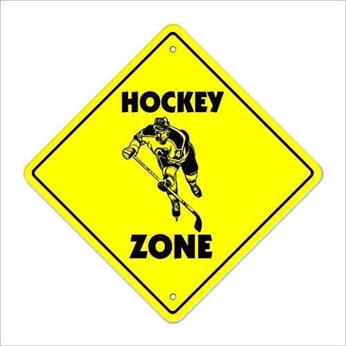 cwb2jcwb2jcwb2j Metalen Tin Teken Wanddecoratie Hockey Crossing Teken Hoge nieuwe voorzichtigheid puck stick speler team trofee award coach masker 12x12 Inches