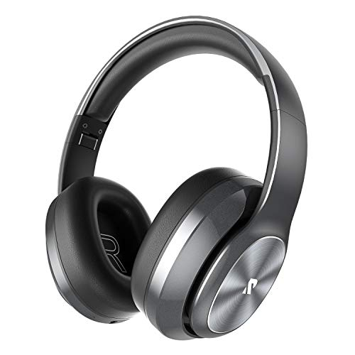 Rydohi Auriculares Inalámbricos Diadema, [100 Hrs de Reproducción] Hi-Fi Sonido, Cascos Bluetooth Micrófono Incorporado y Doble Controlador de 40 mm, para Móviles/Xiaomi/TV (Gris)