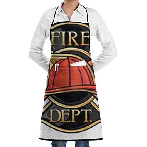 N\A Waterproof Hem Apron with Pocket 52cm 72cm, Unisex Apron Firefighter Fire Badge Maltese Symbol Fireman Firetruck Emergency Rescue Alert C