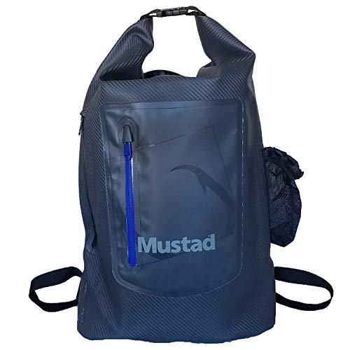 Mustad Dry Backpack 30L, Water-resistant 500-Denier Tarpaulin, Easy-Adjust Shoulder Straps w/Breathable, Mesh Lower Back, Grey/Blue